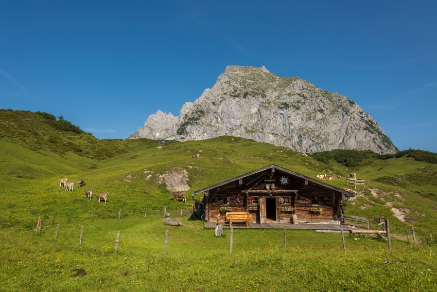 A mountain hut with view of the Wilder Kaiser